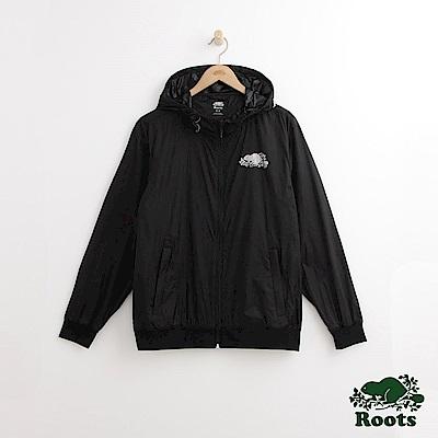 Roots 男裝-左胸反光海狸連帽外套-黑色