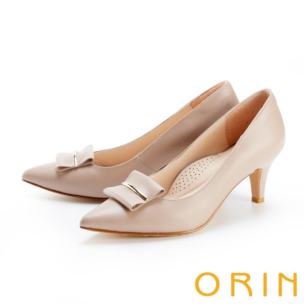 ORIN 造型金屬飾條真皮尖頭 女 高跟鞋 藕色