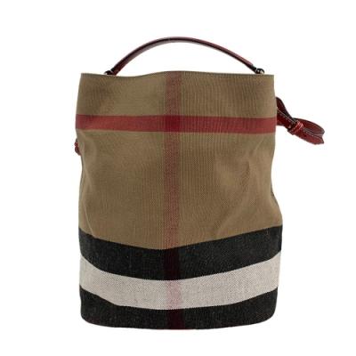 BURBERRY 經典CANVAS格紋帆布牛皮飾邊手提/肩背包(中-紅色)