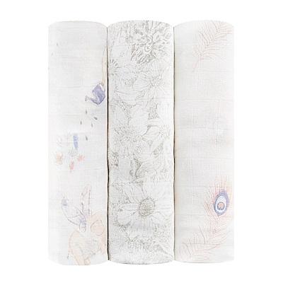 【美國aden+anais】新生兒絲柔(竹纖維)包巾3入-典雅描繪系列AA9219