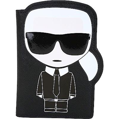 KARL LAGERFELD K/IKONIK 老佛爺肖像造型防刮皮護照夾(黑色)