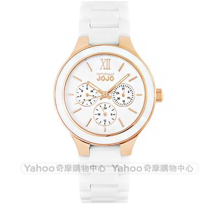 NATURALLY JOJO 簡約三眼時尚陶瓷手錶-白X玫瑰金框/36mm