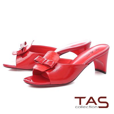 TAS蝴蝶結拼接石紋造型後跟涼拖鞋-艷麗紅
