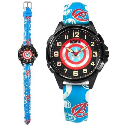 Disney 迪士尼 漫威系列 美國隊長 盾牌 兒童錶 卡通錶 皮革手錶-黑x藍/32mm