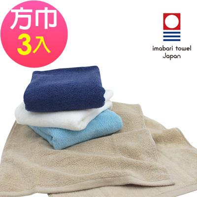 日本今治 輕柔蓬鬆無撚紗素色方巾(超值3入組)