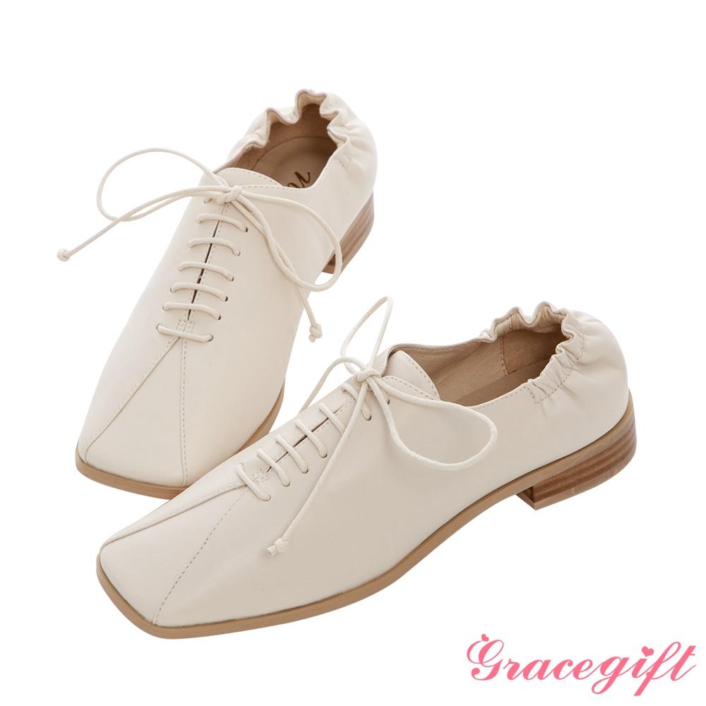 Grace gift X Nina-聯名方頭後抓皺低跟牛津鞋 米白