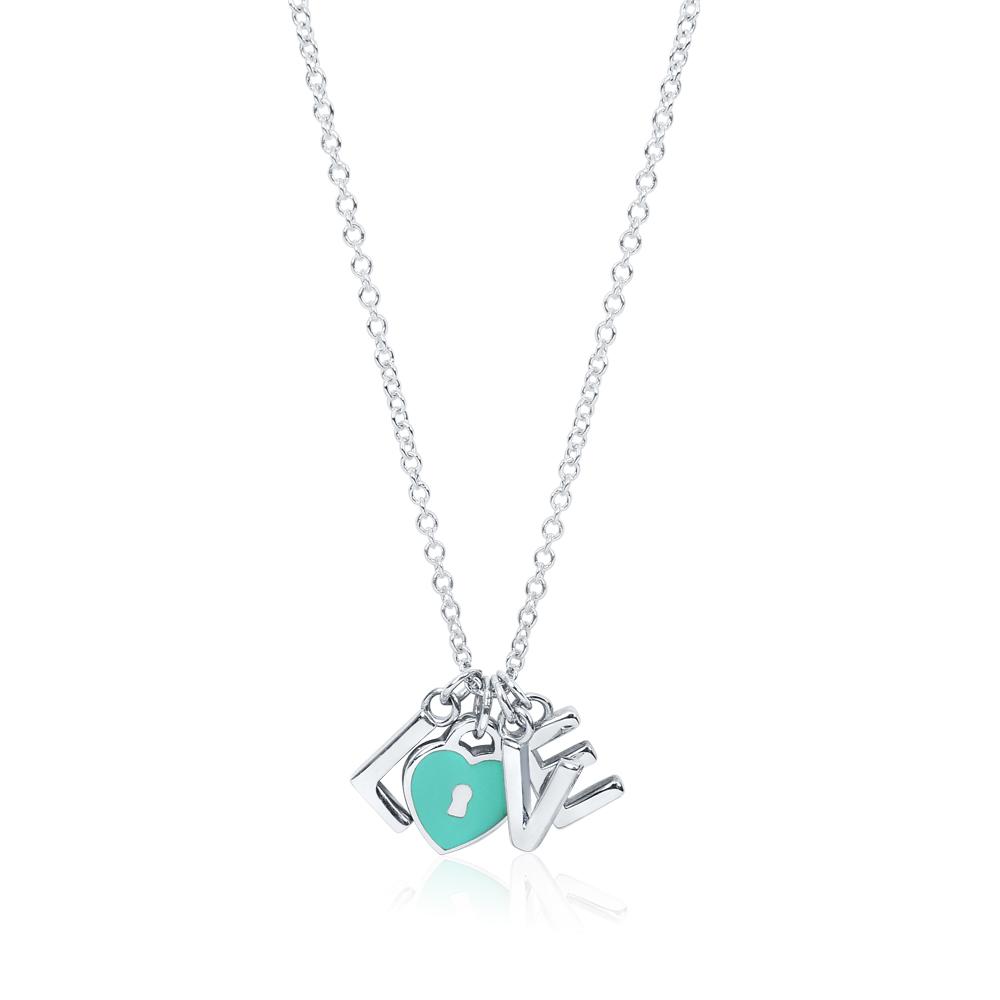 Tiffany&Co. LOVE藍色琺瑯愛心刻字造型純銀項鍊
