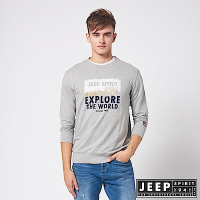 JEEP 探險世界圖騰休閒長袖TEE -灰色