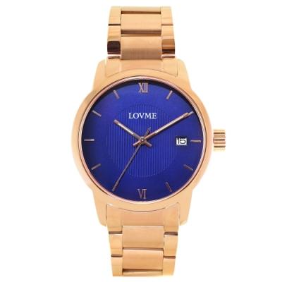 LOVME 紳士質感不鏽鋼日期窗手錶-IP玫x寶藍/43mm