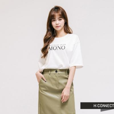 H:CONNECT 韓國品牌 女裝 - 簡約文字T-shirt-白