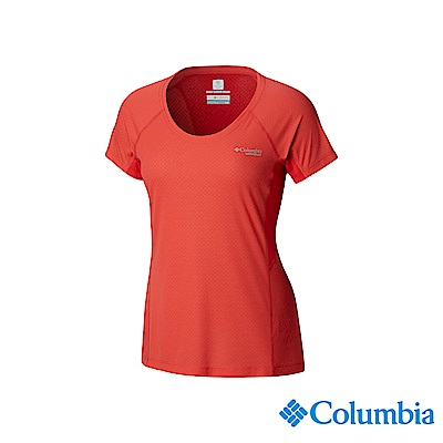 Columbia 哥倫比亞 女款-野跑涼感快排短袖上衣-橘紅 UAR26760AH