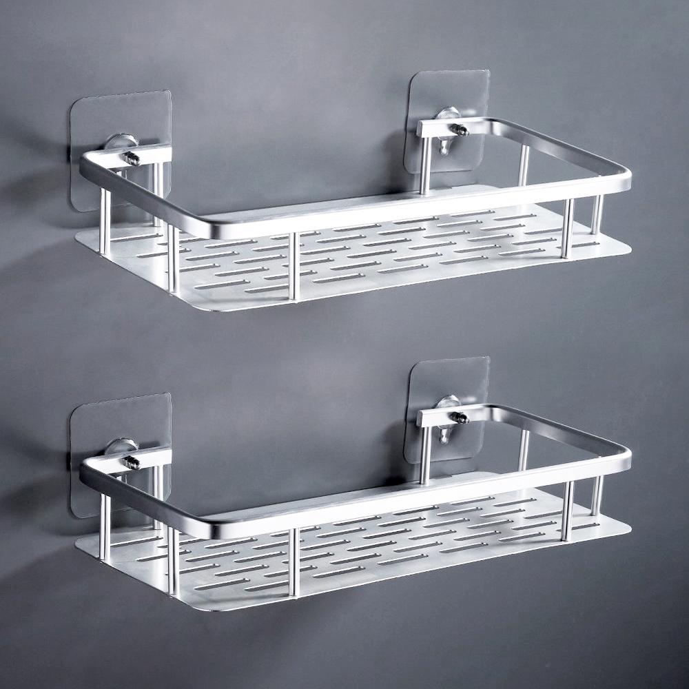 SPACE二入組太空鋁置物架 不鏽鋼螺絲無痕貼 耐用不生銹 浴室收納架 廚房收納盒 透明貼