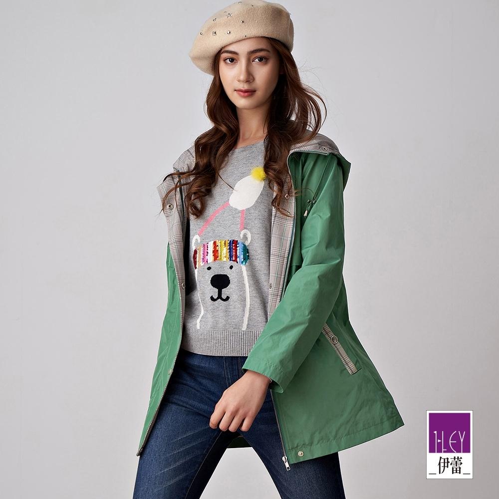 ILEY伊蕾 格紋拼接長版連帽風衣外套(綠/可/粉)