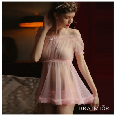 性感睡衣 DRAIMIO絲絨柔紗一字領短裙睡衣。粉色 久慕雅黛