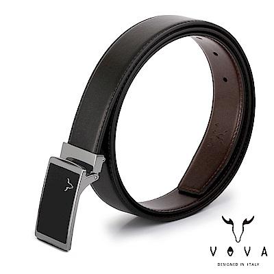 VOVA - 休閒紳士琴鍵鏡面素面紋皮帶 - 銀色