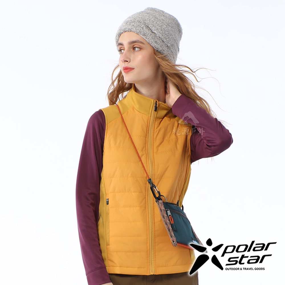 PolarStar 女 異材質鋪棉背心『黃』P20212