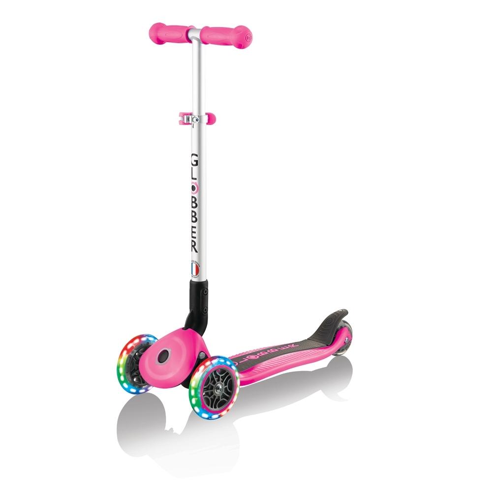 【酷炫發光前輪】GLOBBER 哥輪步 兒童2合1三輪摺疊滑板車-甜心桃