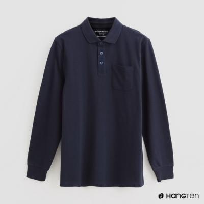 Hang Ten - 男裝 - 純色口袋POLO衫 - 藍