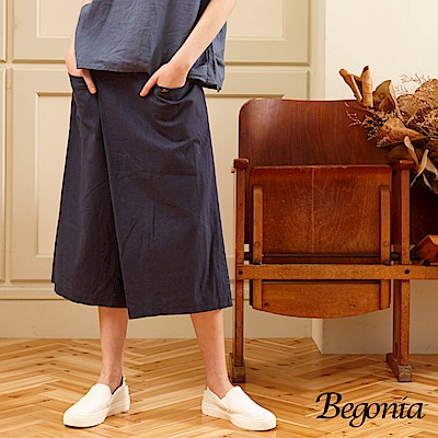 Begonia 木釦打褶寬口褲(共兩色)
