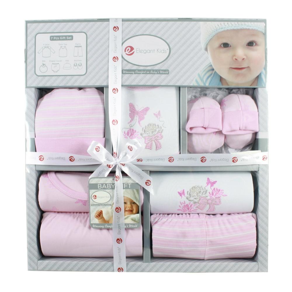 美國Elegant kids彌月禮盒-粉色小蝴蝶7件式禮盒