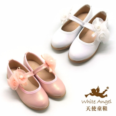 天使童鞋-靜謐晨光玫瑰公主鞋(中-大童)J8008-白、粉