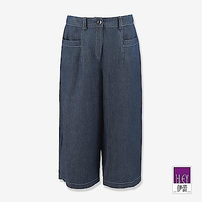 ILEY伊蕾 簡約風七分牛仔寬褲(藍)