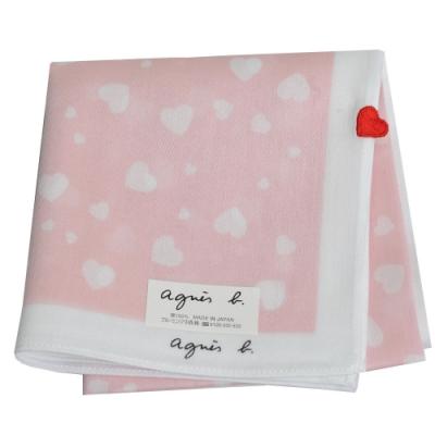 agnes b 品牌字母LOGO繽紛愛心圖騰帕領巾(粉紅系)