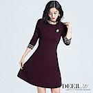 DEER.W 圓領珍珠袖針織洋裝(暗紅)