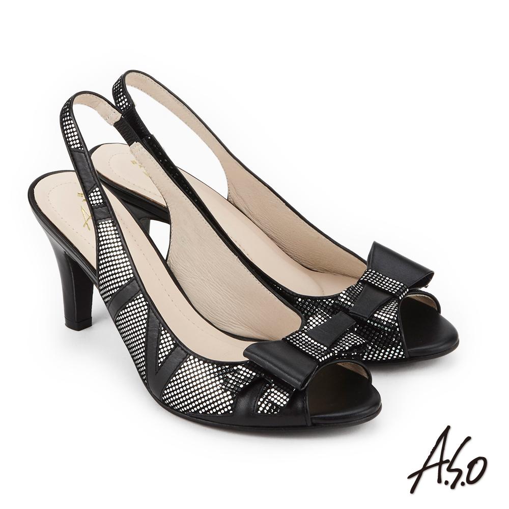 A.S.O 炫麗魅惑 優雅水鑽點綴魚口高跟鞋 黑色