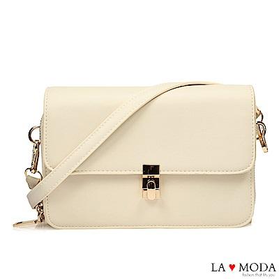 La Moda 優雅氣質首選超實用輕便雙層肩背斜背小方包(米白)