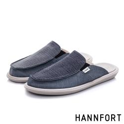 HANNFORT COZY可機洗百搭帆布氣墊拖鞋-男-深藍