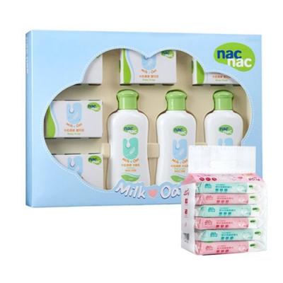 Nac Nac 牛奶燕麥護膚禮盒八件組/附提袋+Nac Nac濕巾/20抽(6入)(狐狸)