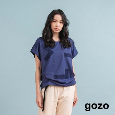gozo 趣味表情圖案落肩無袖上衣(深藍)
