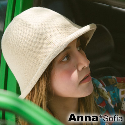 AnnaSofia 圓頂Q捲邊 軟式漁夫帽盆帽(米杏系)