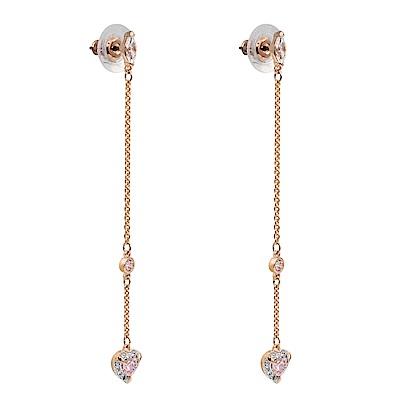 SWAROVSKI 施華洛世奇 ONE璀璨粉色水晶愛心玫瑰金垂墜耳環