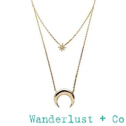 Wanderlust+Co新月星星雙層項鍊 - 金色