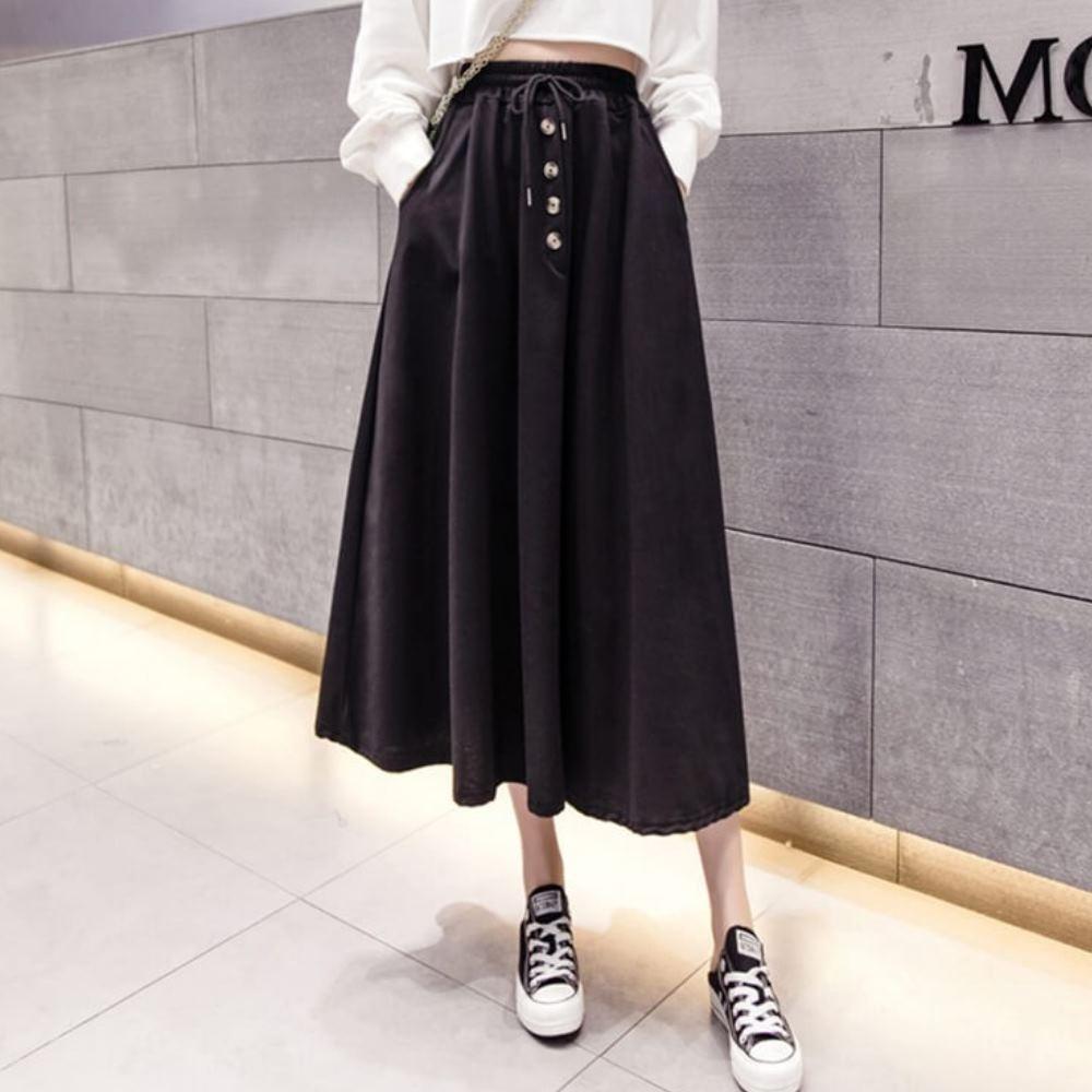 La Belleza素色鬆緊腰抽繩四釦排釦側口袋棉質中長裙 product image 1