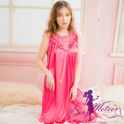 睡衣 全尺碼 冰絲蕾絲背心連身裙睡衣(珊瑚紅) Sexy Meteor