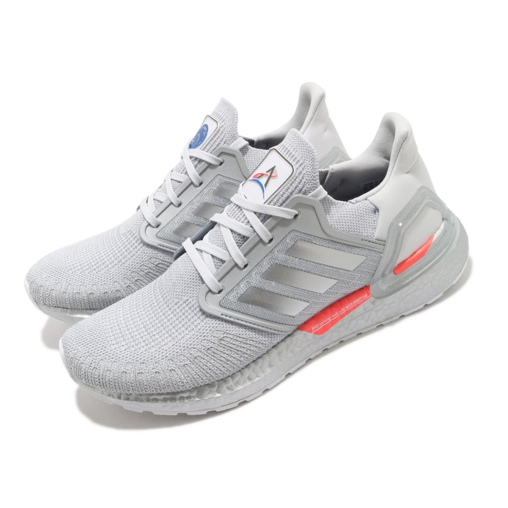 adidas 慢跑鞋 Ultraboost 20 襪套式 男鞋 愛迪達 緩震 路跑 NASA 球鞋穿搭 灰 銀 FX7957
