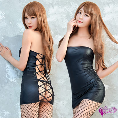 Sexy Cynthia黑色仿皮辣妹角色扮演服二件組-黑F