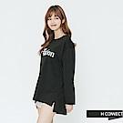 H:CONNECT 韓國品牌 女裝-側開岔隨性印字長T-shirt-黑