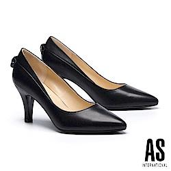 高跟鞋 AS 優雅蝴蝶結造型素面羊皮尖頭高跟鞋-黑