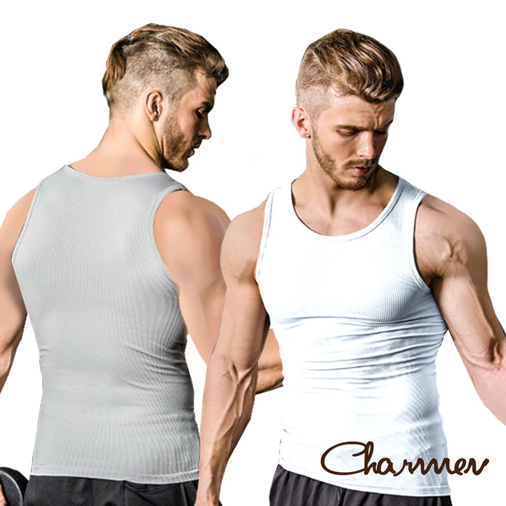 男性塑身衣  彈力羅紋緊身背心  Charmen 2件組