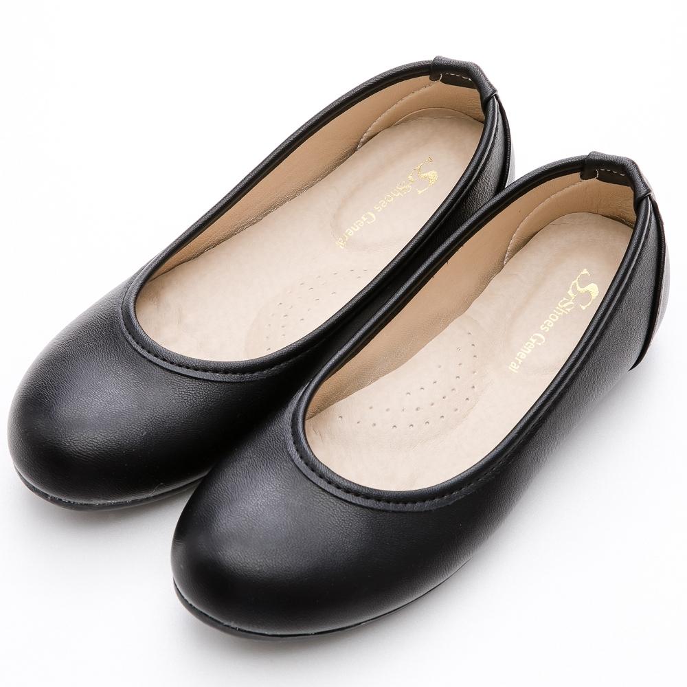 River&Moon娃娃鞋 台灣製通勤百搭 素面圓頭豆豆平底鞋 黑