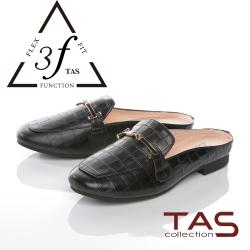 TAS壓紋牛皮一字金屬鍊穆勒鞋-百搭黑