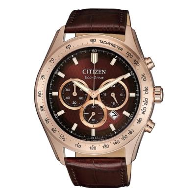 CITIZEN 準確時刻三眼計時光動能皮帶腕錶CA4452-17X