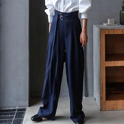 純色復古高腰闊腿長褲 (丈青色)-Kugi Girl