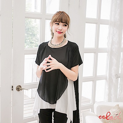 EELADY-配色層次長版上衣(黑)