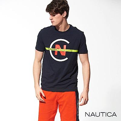 Nautica COMPETITION系列修身彈性短袖T恤-深藍