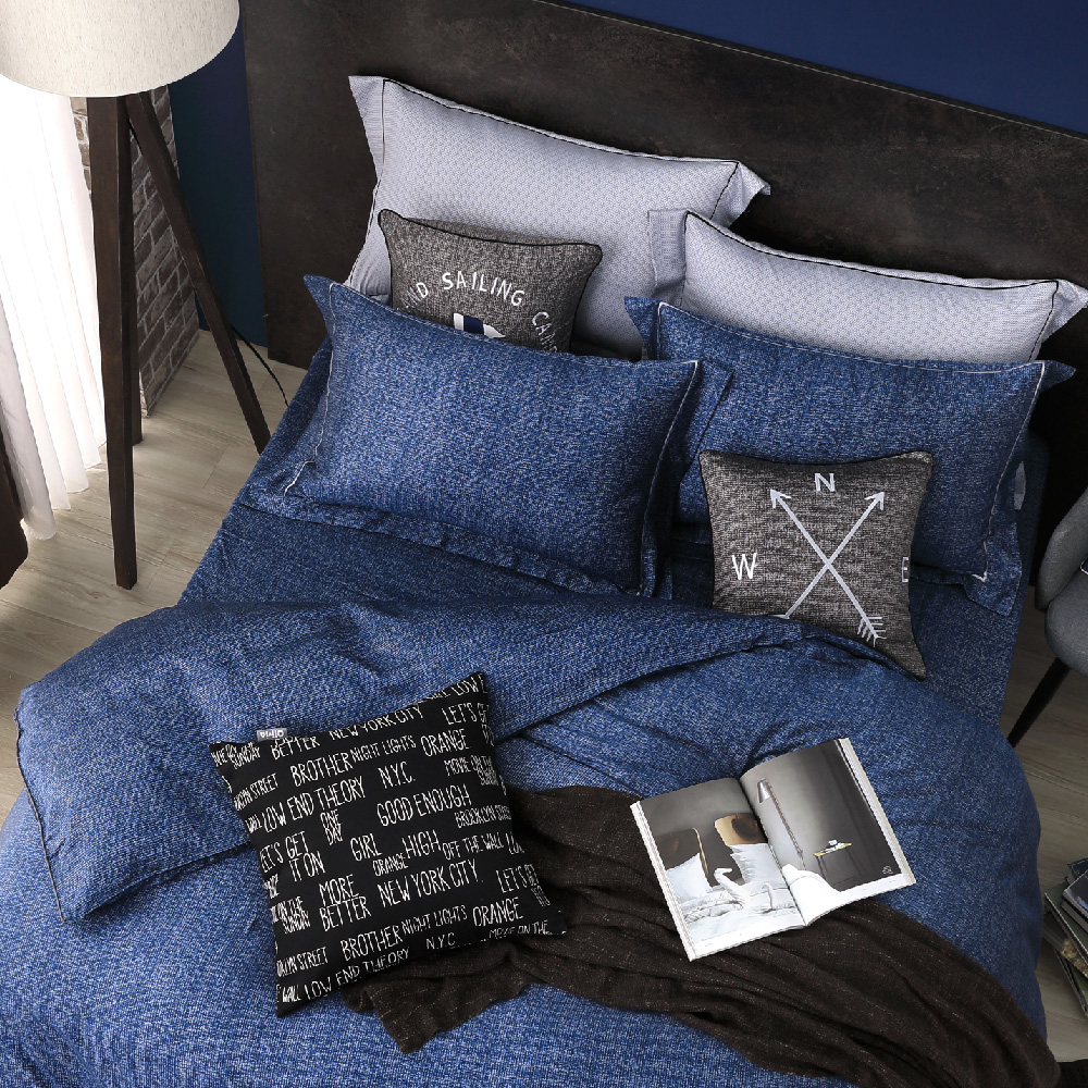 OLIVIA SIMON 藍 特大雙人床包歐式枕套三件組 繡線枕 棉天絲系列